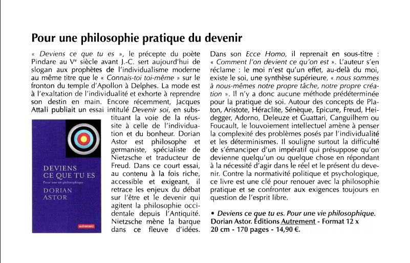 Pour une philosophie pratique du devenir